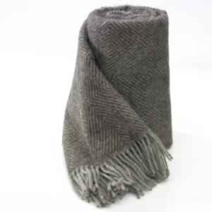 Pläd ull brun/grå gåsöga 140×240 cm